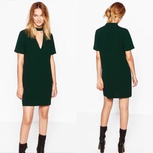 Zara | NWT Choker Mini Dress Green L